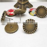 10-14mm Antique Bronze Curled Edge Ear Studs Blank Base Cabochon Bezels Setting Round Earring Tray