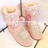 Aidocrystal 2016 New Arrival Winter Fashion Sexy Warm Pink rhinestone Butterfly Snow Boots Shoes for Ladies