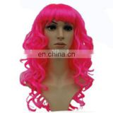 MCW-0372 Party Masquerade synthetic long women Hot curly pink wig