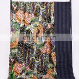 Indian Beautiful Black Paisley Design Kantha Quilt Bedspread Throw Cotton Queen Size Blanket