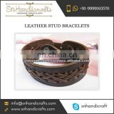Men's Leather Bracelet with Crossed Design Available at Affordable Rate