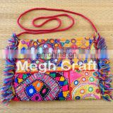 Traditional Mirror Work Wallet- Colourful HIPPIE POUCH BAG- tribal banjara Style Wallet- Embroidered mirror work Wallet