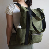 wax canvas backpack bag with 9 pockets