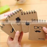 Hard Craft Paper cover spiral note books Moustach/caps/Glass /pipe men's style mini notebooks