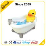 Novelty cute yellow duck shape plastic soap dish
