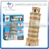 Mini Qute Leaning Tower of Pisa building block 3d paper architectural scale models cardboard puzzle educational toy NO.B568-5