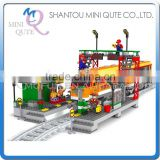Mini Qute DIY train station rail track Transport vehicle action figure plastic building block model educational toy NO.25110