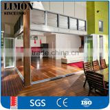 China gold supplier aluminum exterior glass accordion folding glass door price
