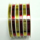 5mm*4m*6 Rolls Metallic Ribbon on white Plastic Stoll for Christmas Decorative Gift Wrapping