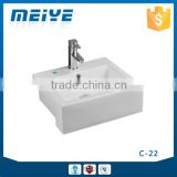 C-22 Modern Bathroom Design, Quality Square Art Basin, Bathroom Mounting Above Cabinet White Ceramic Washbasin Bowl