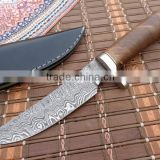 "udk h294"" custom made Damascus hunting knife / TANTO knife with beautiful walnut wood handle"