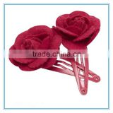 Fancy felt flower hair clips for girls, flower hair accessories, kids metal hair clips with flower
