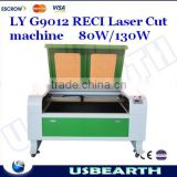 LY G9012 Water cooled RECI Laser cutting machine for industrial use 80W/130W optional ,can Separation of cutting up to 256 color                                                                         Quality Choice
