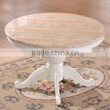 Durable dining room round marble table with wooden table base and chairs