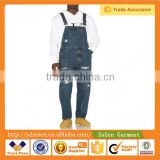 Adjustable Shoulder Straps ,Chest Pocket and Destroyed Wash Jeans Jumpsuit for Men Overall                                                                         Quality Choice