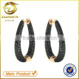 wholesale alibaba jewelry supplier micro pave cz black zirconia hoop earrings                                                                                                         Supplier's Choice