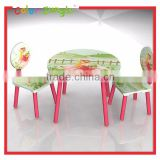 Pink flower fairy princess pattern wooden table and chair set for kids decorative cute chair and table set