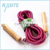 rubber cotton jump rope with wodden handle