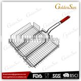 Non-stick BBQ Grilling Vegetable Basket With Wooden Handle