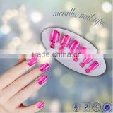 Beautdy product metallic pink ABS fake nail tips christmas decoration full cover color manicure artificial nail art tips