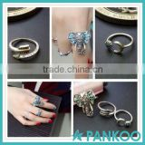 Hot Fashion Bohemian Gypsy Sterling Silver Elephant Turquoise Rings 6 Piece Set