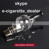 wax atomizer dry herb vaporizer pen skull glass global atomizer set with two coils head Fit for 510 thread battery