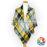 Yellow blue white checks designs scarf and shawls wholesale women scarf pashmina