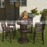 garden set outdoor Bali island bar furniture PE wicker high bar outdoor table & bar stool with waterproof cushion