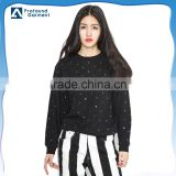 Sequin fabric Round neck custom wholesale bulk hoodies and 100 cotton plain sweatshirts wholesale women without hood