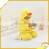 2014 china animal yellow duck baby pajamas onesie