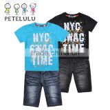 Petelulu summer children's clothing sets baby boy's party apparel short sleeve t shirt +jeans short