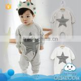 2015 stylish design organic baby clothes plain white star soft baby cotton romper casual rompers baby