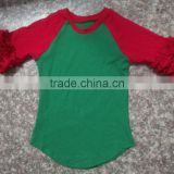wholesale baby girl boutique knit cotton 3/4 sleeves t-shirts teen girl raglan shirts design children christmas tops