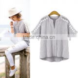 European station 2017 new large size women's striped shirt stitching short-sleeved t-shirt cotton and linen jacket
