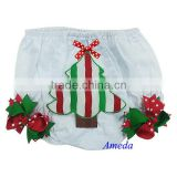 Xmas Newborn Red White Green Tree Ribbon Baby White Cotton Lace Bloomers 0-24M