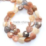 Latest design beads natural rainbow moonstone hear beads
