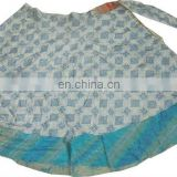 ladies silk sari beach wear ventage magic wrap around two layer skirt