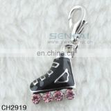 Custom alloy roller skate charms black enamel ice skate charm for Sale in Bulk