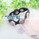 Real Leather Cuff Bracelets for Woman with Various Enamel Cap Buttons metal cuff bracelet blanks