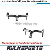 3K/UD Monocoque carbon handler bar with stem 700c road bicycle handlebar with stem carbon black dropbar handlebar