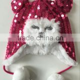 customer winter funny animal fur hat with cute face and lovely poms
