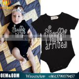 INS Hot Fashion Design Plain Cotton Baby Bodysuit Black Short Sleeve Kids Romper Suit Baby Rompers