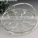 Delicate basket shape cake stand/transparent glass cake stand for wedding decoration &party &event(MY6461)