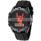 Fashion Rock and Roll Cool Big Case Silicone Man Watch Quartz Sport Rubber Watch