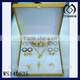 Fashion wholesale gold plating jewelry set with watch necklace ring earring beautiful watch gift set