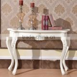 Italy Design Luxury Dining Room Silver Painted Carving Classic Console Table