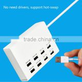 universal multi port usb charger 100v-240v 8 port intelligent charging station output 2.4a 1a with cord
