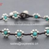 Smart Turquoise Flower Shape Silver Brass Beaded Bracelets For Girls Women Full Handmade Fashion Jewellry Wholesale