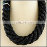 jewelry crystal rope net mesh chain black bead long chain necklace