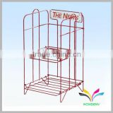 Powdercoated red fashionable cheap used metal magazine display racks